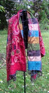 Wool Tapestry Shawl - Red