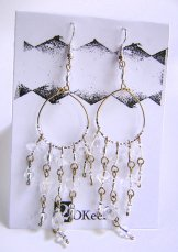 Beaded Hoop Earings - Crystal