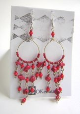 Beaded Hoop Earings - Red