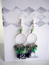 Crystal Beaded Hoops - Green