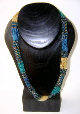 Tube Necklace - Teal and Gold