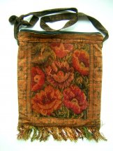 Huipil Bag - Large Square Chichicastenango Rust Flowers 6 ***SOLD***