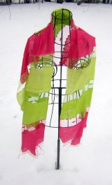 Silk Scarf - Shadow Weave - Cherry and Lime