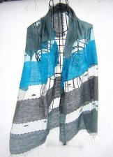 Silk Scarf - Shadow Weave - Antique Silver and Turquoise