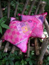 Sari Scrap Pillow Cover - Pink
