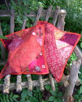 Sari Scrap Pillow Cover - Orange