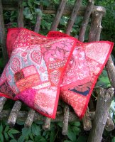Sari Scrap Pillow Cover - Red