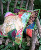Sari Scrap Pillow Cover - Green