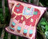Patchwork Elephant Pillow Cover - Chocolate