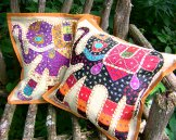 Patchwork Elephant Pillow Cover - Tan
