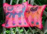 Patchwork Elephant Pillow Cover - Red