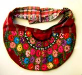 Huipil Crescent Bag - Patzun Flowers 12 *SOLD*