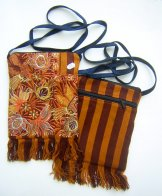 Pocket Bag 2 Zipper - Golden Birds 2 With Fringe *SOLD*