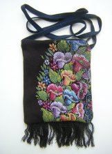 Pocket Bag 2 Zipper - Black Tapestry Flowers