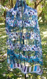 Silk Scarf - Shadow Weave - Paisley Blue