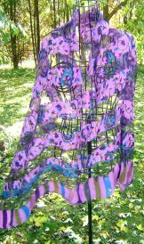 Silk Scarf - Shadow Weave -  Paisley Violet