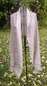 Finest Cotton Reversible Blanket Shawl - Beige/Ivory