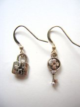Charm Earrings - Tiny Lock & Key