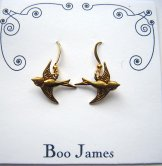 Charm Earrings - Gold Swallows