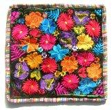 Embroidered Black Velvet Pillow - Flowers 3 ***SOLD***