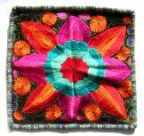 Embroidered Black Velvet Pillow - Single Flower  - ***SOLD***