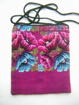 Pocket Bag 2 Zipper - Magenta Flowers ***SOLD***