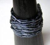 Wide Pewter Bugle 24 Strand Bracelet