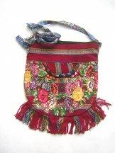 Huipil Bag -  Medium Half Moon Patzun Flowers 8 ***SOLD***