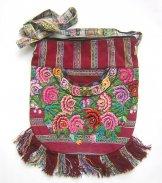 Huipil Bag -  Large Half Moon Patzun Flowers 10 ***SOLD***