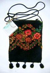 Huipil Pocket Bag - Navy Patzun Flowers ***SOLD***