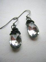 Crystal Drop Earrings - Pewter