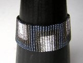 Medium  - Art Deco Woven Bracelet - Shades of Gray