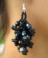 Stone Cluster Earrings - Black