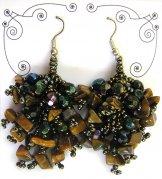 Stone Cluster Earrings - Tiger Eye Bronze
