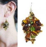 Stone Cluster Earrings - Tiger Eye Green