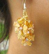 Stone Cluster Earrings - Citrine