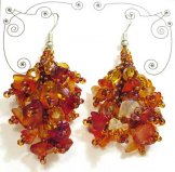 Stone Cluster Earrings - Carnelian Sunset