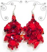 Stone Cluster Earrings - Red
