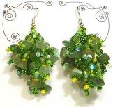 Stone Cluster Earrings - Tulip Green