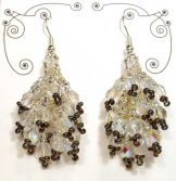 Crystal Cluster Earrings - Silver and Bronze