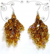 Crystal Cluster Earrings - Gold
