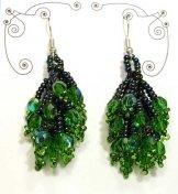 Crystal Cluster Earrings - Emerald Green