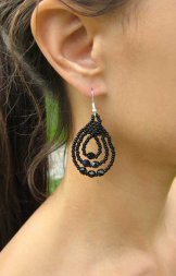 Triple Loop Earrings - Black