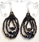 Triple Loop Earrings - Black and Bronze