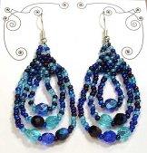 Triple Loop Earrings - Ocean Blue