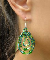 Triple Loop Earrings - Emerald Green