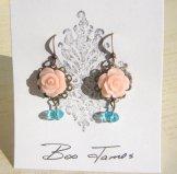 Vintage Rose Earrings - Blush