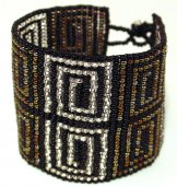 Wide - Pattern Woven Bracelet - Greek Key - Athens Metallics