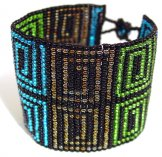 Wide - Pattern Woven Bracelet - Greek Key - Corfu Sea