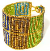 Wide - Pattern Woven Bracelet - Greek Key - Santorini gold